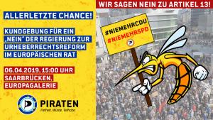 #SaveYourInternet: Kundgebung gegen die EU-Urheberrechtsreform @ EUROPA-Galerie Saarbrücken